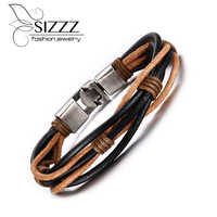 2016 new Hot fashion jewelry men's bracelets genuine leather Stainless steel Black Bracelet man Vintage Bracelets & Bangles