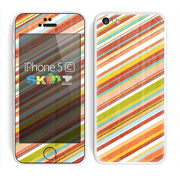 The Vintage Slanted Color Stripes Skin for the Apple iPhone 5c