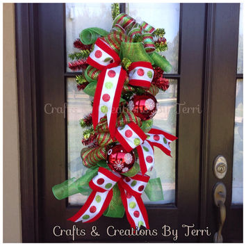 Christmas Door Swag -  Christmas Decor - Deco Mesh Swag - Ornament Swag - Holiday Door Decor - Whimsical -- Door Decor - Ready To Ship