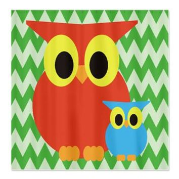Red Mom/Dad Owl and baby owl on green chevron Show> Owl Shower Curtains> Shower Curtains