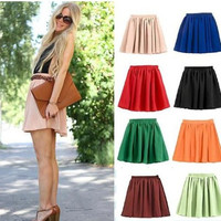 Vogue Lady Retro High Waist Pleated Double Layer Chiffon Short Mini Skirts Dress = 1945999236