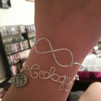"Custom Word Wire with Chain Bracelet in Either Silver or Gold, ""Geology"" in Picture"