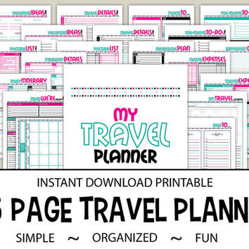 Travel Planning Printable - 25 Page INSTANT DOWNLOAD PDF - 8.5 x 11 Vacation Planner - Details Checklists Journal - Polka Dot Cool Caribbean