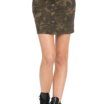 Button Up Camo Jean Mini Skirt
