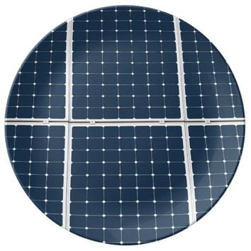 Image of a solar power panel funny porcelain plate