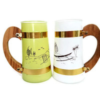 Siesta Ware Hawaiian Tiki Bar Mugs Beer Mugs Two Glasses Yellow and White