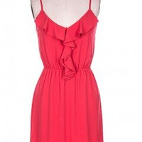 Red Sundress with Ruffle Trim & Figure Flattering Cinched Waist - Che Bello