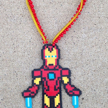 Big Marvel Iron Man Gold and Red 3D Kandi Perler Necklace