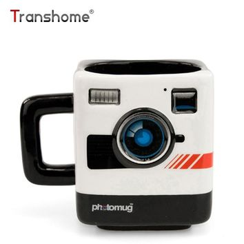 Transhome Personality Camera Lens Mug 350ml Creative Retro British Mustard Photo Mugs Polaroid Camera Ceramic Funny Coffee Mug