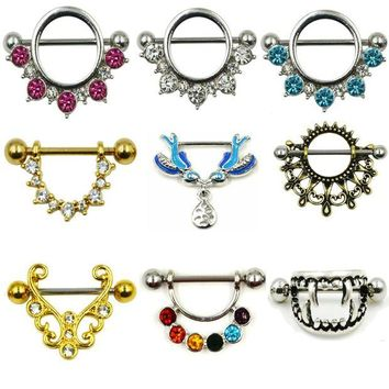 ac DCCKO2Q PAIR Surgical Steel Barbell Rings Sheild CZ Gem Sexy Piercing Body Jewelry For Women 14G
