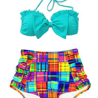 Mint Bow Top and Colorful Plaid Retro Vintage High Waist Waisted Swimsuit Swimsuits Swimwears Bikini Bikinis set 2PC Bathing Swim suit S M