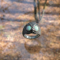 Sterling Silver Owl Ring With Opal Eyes