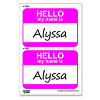 Alyssa Hello My Name Is - Sheet of 2 Stickers