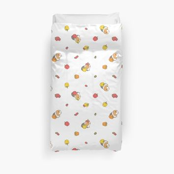 'Bell pepper, cherry tomatoes and Guinea pigs pattern ' Duvet Cover by Miri-Noristudio