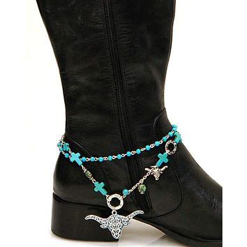 Women's Accessories New Fashion Women Western Boot Bracelet Silver Metal Chain Bling Anklet Shoe Charm Big Beads Selling Well All Over The World Jewelry & Watches
