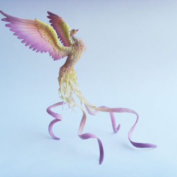 Phoenix bird - original handmade OOAK, Statuette Fire bird Figurine Statue Figure Fantasy Bird Sculpture fiery Firebird Creature
