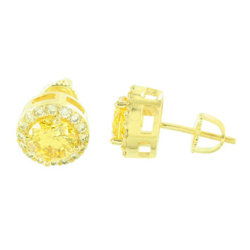 Canary Solitaire Circle Lab Diamond Bling Earrings f3851959f6