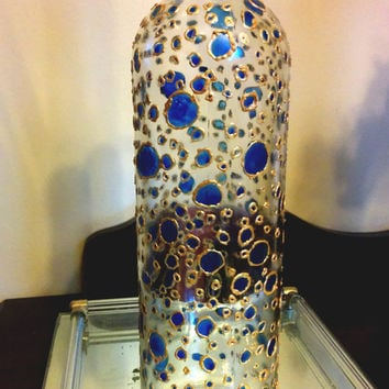 Polkadot Art, Painted Glass Vase, Abstract Glass Art, Decorative Wine Bottle, Unique Vase, Blue and Gold Decor, Wine Bottle Painting