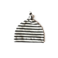 Organic Baby Knotted Hat in Black Stripes