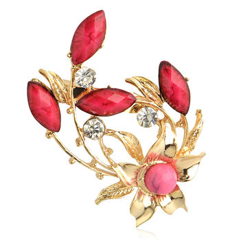 Retro Gold Alloy rhinestone Resin Flower Shape Brooch pin