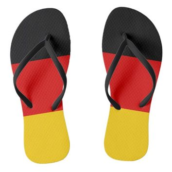 Black Red Gold Stripes Flip Flops