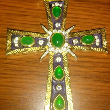 BOUCHER Huge Cross Pendant Emerald Green Cabochon Runway