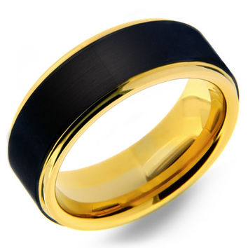 Mens 8mm Tungsten Carbide Ring With Black Matte Finish & Yellow Gold