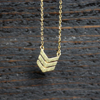 dainty minimalist gold chevron necklace
