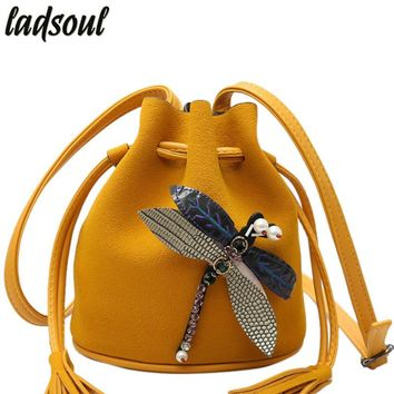 Bucket Ladies Clutches Tote Dragonfly Cross-body Bags For Women