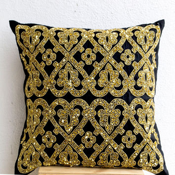Black geometric throw pillows beaded detail -Gold pillow -Silk pillow -Cushion cover -Gift pillow 12X12 -Black gold pillow -Sequin Pillows