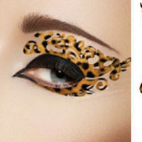 1 Pair of Temporary Tattoo Makeup for Eyes Eyelids Sexy Leopard Pattern Brown Color for Clubbing Party Prom