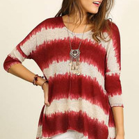 UMGEE comfy relaxed fit burgundy tie dye striped 3/4 sleeve top