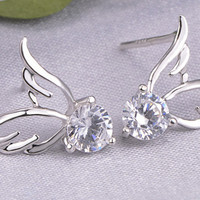 Flying angel wings with single diamond stud earrings in 925 silver with 10K white gold plate (On sale)