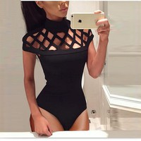 New Fashion Women Sexy Hollow Out Bodycon Skinny Bodysuit Summer Spring Playsuit Romper&Jumpsuit