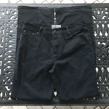LEVI STRAUSS & CO Signature At Waist Bootcut Misses Black Jeans, Size 14 Long
