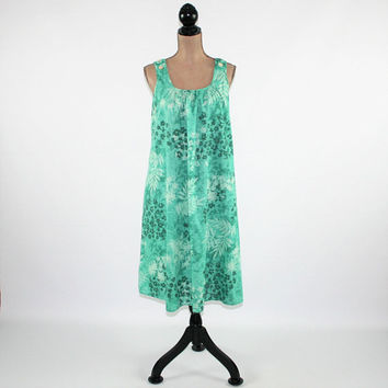 Hawaiian Tropical Summer Dress Women Loose Fitting Beach Dress Large Sleeveless Midi Dress Green Print Vintage Clothing Womens Clothing