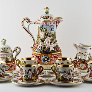 CapoDiMonte 17pc Tea Set, Cherubs in the Garden, Dragon Handles