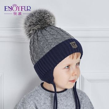 ENJOYFUR 2018 Winter baby Hats Real Fox Fur Pompom Hat Knitted Boy Cap Cotton Protect The Ears Hat Warm Thick Kids Beanies