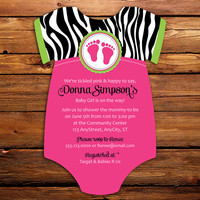 Pink Zebra Baby Shower Invitations -- 20 Onesuit die cut printed cards in any color