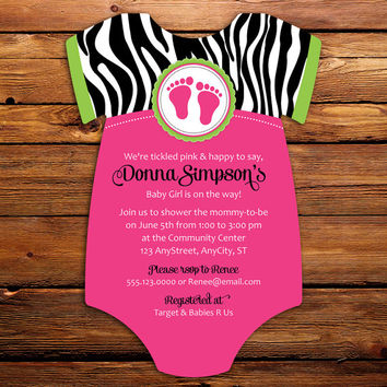Best pink zebra invitations products on wanelo pink zebra baby shower invitations 20 onesuit die cut printed filmwisefo