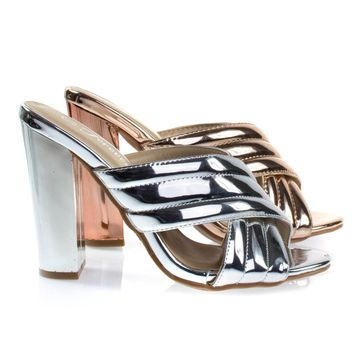Shine91 Silver By Forever Link, Chunky Block Heel Slipper Mule, Metallic Party Sandal w Padded Strap