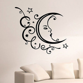 WALL DECAL VINYL STICKER FLORAL MOON SYMBOL ETHNIC DECOR SB808