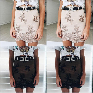 Floral Sheer Embroidery Lace Mini Skirt