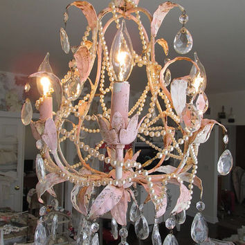 Chandelier tole lighting shabby cottage chic pink distressed light fixture w/ vintage pearl necklaces and crystals decor anita spero design