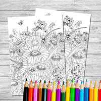 Adult Coloring page - Coloring book printable - Coloring book - Doodling - Hand painted coloring - Hand painted flowers - butterfly - zentan