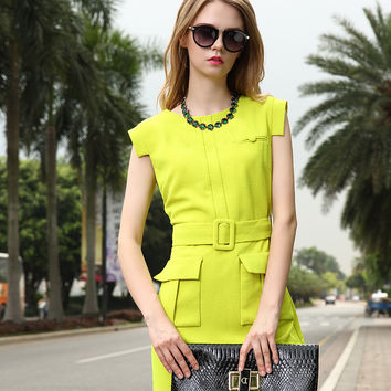 Fluorescent Yellow Embellished Pockets Sheath Belted Dress