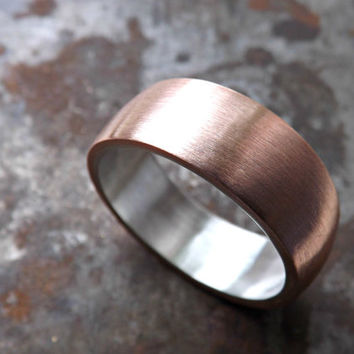 copper wedding band, bold copper silver ring, domed copper ring silver, 7mm to 9mm wide men ring, rustic mens ring, anniversary gift for him