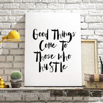 "Typography art ""Hustle"" Motivational quote Inspirational poster Printable quote Wall artwork Home decor Room poster Typographic print"