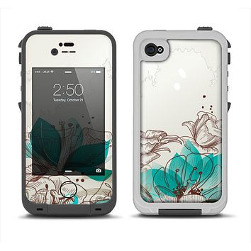 The Vintage Teal and Tan Abstract Floral Design Apple iPhone 4-4s LifeProof Fre Case Skin Set