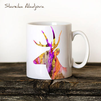 Deer Mug Watercolor Ceramic Mug Unique Gift Bird Coffee Mug Animal Mug Tea Cup Art Illustration Cool Kitchen Art Printed